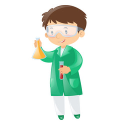 scientist in green gown holding beaker vector image
