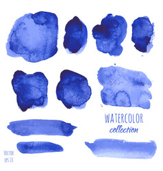 set of navy blue watercolor texture backgrounds vector image