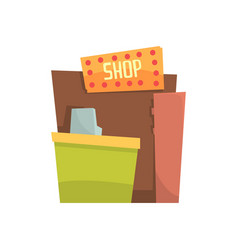 street shop takeaway kiosk cartoon vector image