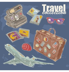 Travel objects collection vector image vector image