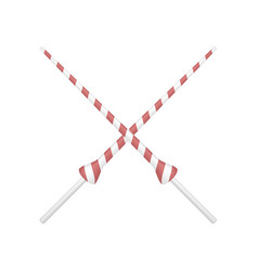 two crossed lances in red and white design vector image