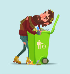 Unemployed homeless man look for food trash can vector