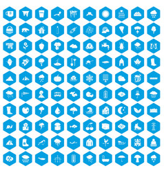 100 clouds icons set blue vector