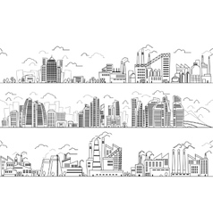 Industrial landscape and hand drawn cityscape vector