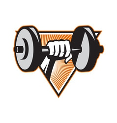 Hand lifting dumbbell retro vector