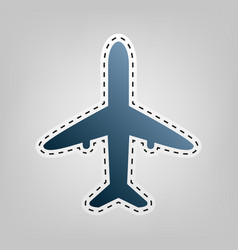 airplane sign   blue icon with vector image
