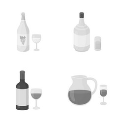 white wine red wine gin sangriaalcohol set vector image