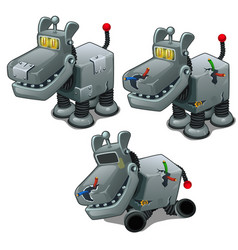 Set of iron dogs cyborgs isolated vector