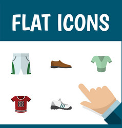 Flat icon garment set of sneakers trunks cloth t vector