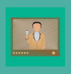 Flat shading style icon president on tv vector