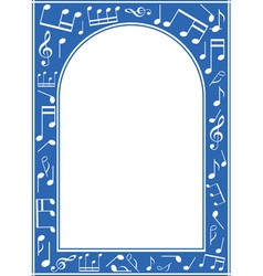 Blue music arch frame with white center vector