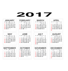 2017 year calendar on white background vector