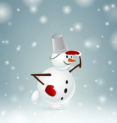 Snowman with bucket and mittens vector