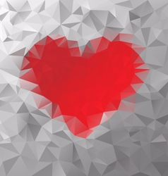 Red heart polygonal triangular pattern background vector