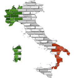 Italy map on a brick wall vector