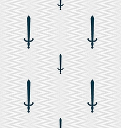 Sword icon sign seamless pattern with geometric vector