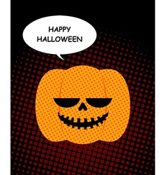 Happy halloween pumpkin with bubble pop art jolly vector