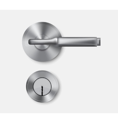 Metal door handle and door lock vector image