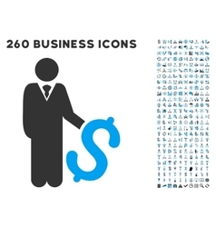 Investor icon with flat set vector