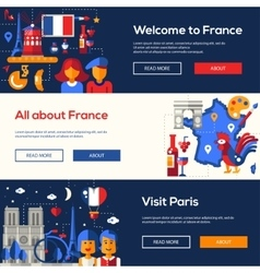 France travel banners set with famous french vector