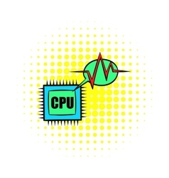Cpu icon in comics style vector