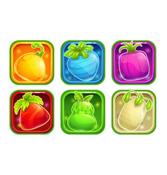 app icons with colorful glossy fantasy fruits vector image vector image