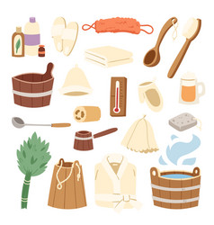 bath house sauna hot water spa termal steam vector image