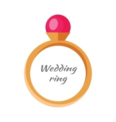 Beautiful wedding ring with red gemstone vector