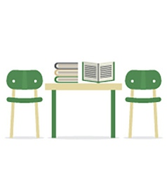 Chairs with books on table vector