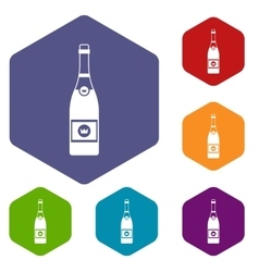 Champagne icons set vector image vector image