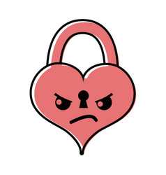Color angry heart padlock kawaii personage vector