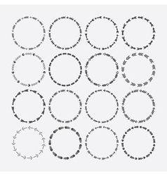 Cute black circle arrow border patterns set vector image
