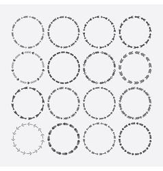 Cute black circle arrow border patterns set vector