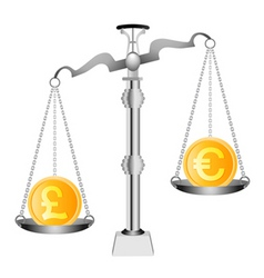 euro on scales vector image