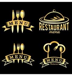 golden restaurant and menu elements set vector image