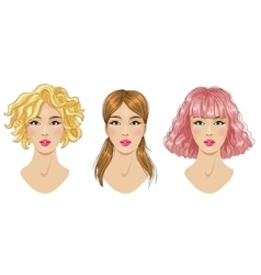 Hairstyles set blonde pink brown woman vector image