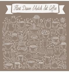 Hand-drawn doodle collection of coffee vector
