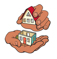 Hands are building a small house symbol of vector
