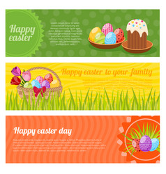 Happy easter horizontal banners set vector
