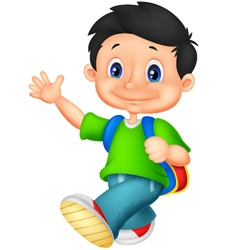 Happy school boy cartoon vector image