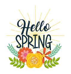 hello spring floral decoration card invitation vector image