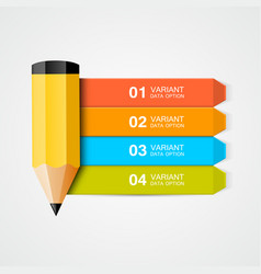 Infographics education pencil with data vector