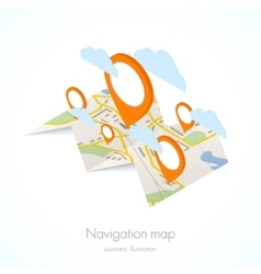 Navigation map with pin vector image vector image