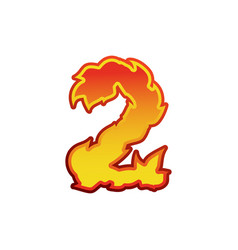 Number 2 fire flames font two tattoo alphabet vector