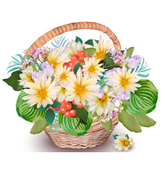realistic floral chamomile bouquet in a basket vector image