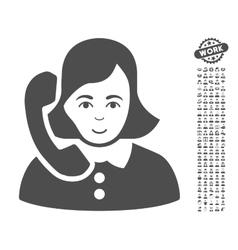Receptionist icon with bonus vector