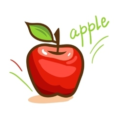 Red apple with green leaf vector