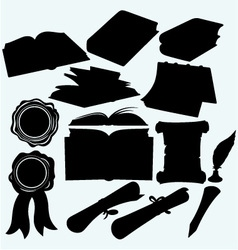 Set books and parchments scrolls vector image vector image