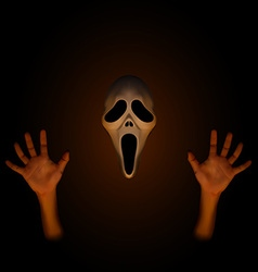 Spooky halloween mask with human hand vector image
