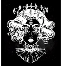 Strange witch girl head portrait with five eyes vector